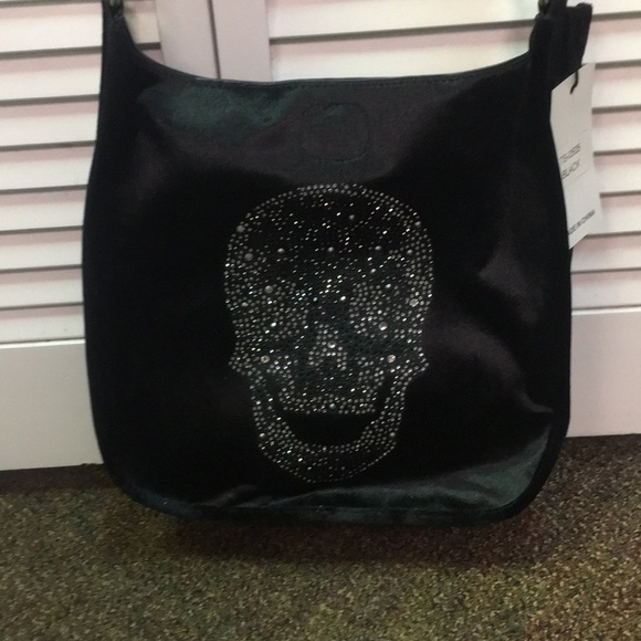 738d7e48d Bags   Nwt Ah Formed Black Velvet Skull Crossbody   Poshmark